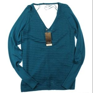 CALIA by Carrie Underwood Ruched-Back Sweater Teal